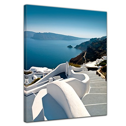 Bilderdepot24 Bild auf Leinwand | Santorini Treppe - Griechenland in 50x70 cm als Wandbild | Wand-deko Dekoration Wohnung modern Bilder | 16105