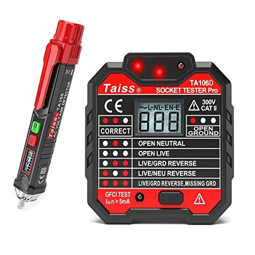 Spannungsprüfstift Berührungslos mit LED-Taschenlampe + FI-Schutzschalter-Steckdosenprüfgerät Steckdose Automatischer Stromkreis Polaritätsspannungs Wandstecker Unterbrecher-Sucher TA100 + TA106D