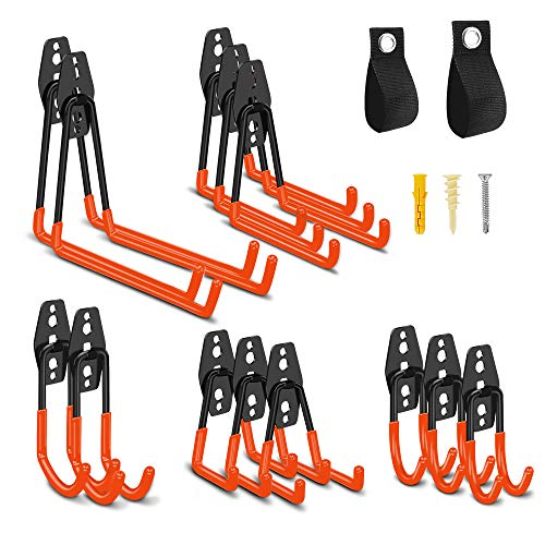 13 PCS Garage Hooks Heavy Duty, SANLINKEE Steel Garage Storage Hooks with 2 Loop Storage Straps, Wall Mount Hooks for Hanging Bikes, Shop Vacs, Power Tools, Brooms, Extension Cords