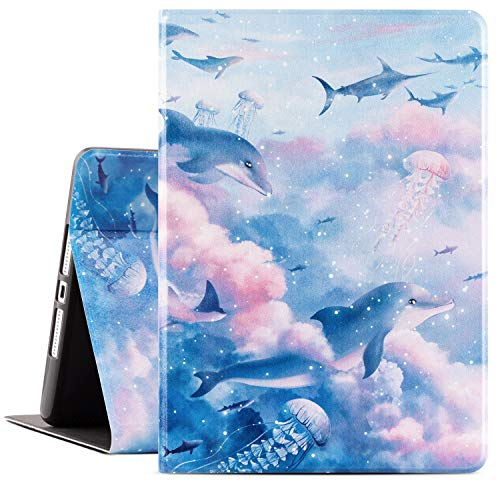 Drodalala 10.2 inch iPad Case Cute,7th Generation iPad case,iPad 8th Generation Protective Cover with Premium Leather Soft TPU Adjustable Viewing Stand iPad 10.2 Case-Auto Wake/Sleep(Blue Sky Whale)