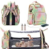 3 in 1 Diaper Bag Backpack with Changing Station, Foldable Baby Travel Bassinet Bed, Portable Crib, Large Capacity, Waterproof, USB Charging Port, Colorful