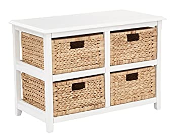 OSP Home Furnishings Seabrook 2-Tier 4-Drawer Storage Unit with Natural Baskets White Finish