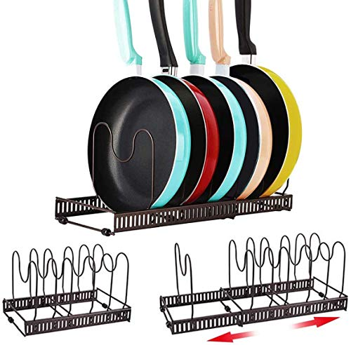 Pot Rack Organizer, Astory 7 Tiers Pan Rack Holder Stand Detachable Pot Lid Rack Length Expandable from 11.8 in to 23in Shelf Cookware Holders Cabinet Pantry for Kitchen Counter and Cabinet