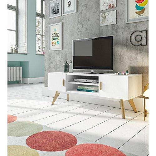 Générique Meuble TV 2 Portes 1 étagère en Bois laqué Blanc Semi-Mat et chêne Argo - L 120 x l 40 x H 45
