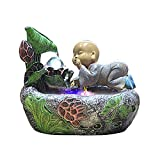 LLLKKK Fuente de interior, juego de agua Zen, decorativa, para el hogar, con lupa de bolsillo, con luces LED, para oficina, artesanía, ornamentos, color verde