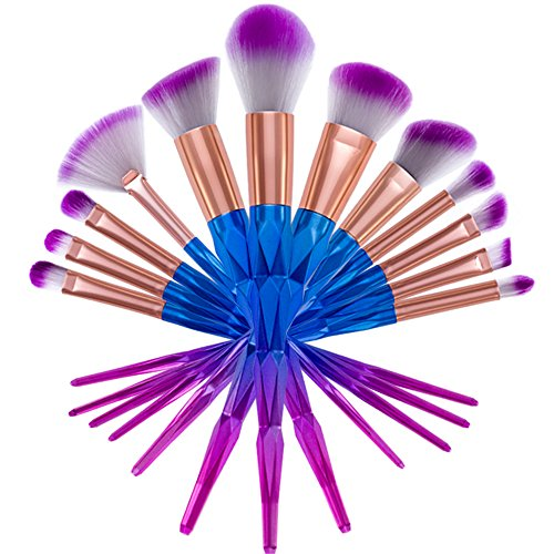 Lot de 12 pinceaux de maquillage, Value Makers® Premium Lot de pinceaux de maquillage Face Powder Foundation Crème Eyeliner Blush Brosse Yeux avec poches Maquillage Cosmétique