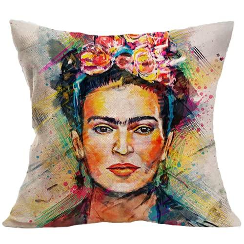 Adecuado para cojín Frida Kahlo 40x40cm/45x45cm/50x50cm, funda de almohada de lino de algodón, sofá cama, funda de cojín de coche para decoración del hogar (autorretrato de un famoso pintor mexicano)