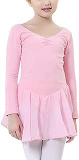 RONSHIN Little Girls Open Crotch V Neck Long Sleeve Leotard Dancing Dress Costume