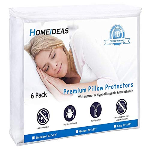 HOMEIDEAS 6-Pack Pillow Protectors with Zipper Standard Size - Waterproof Pillow Protectors & Pillow Encasement with Soft Polyester Fabric