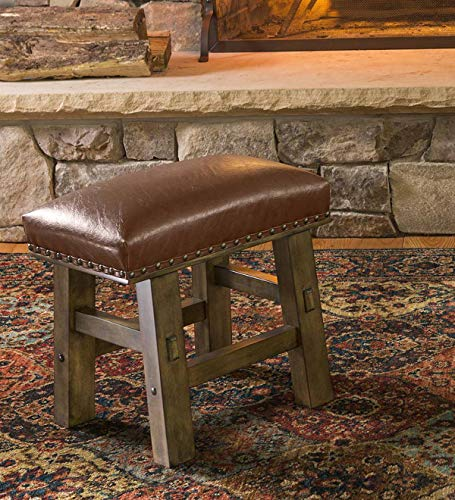 Plow & Hearth Canyon Leather Footstool - Brown