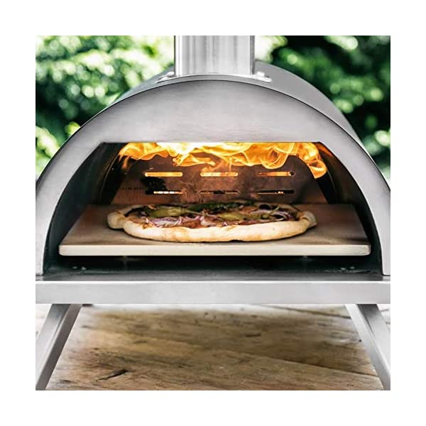 BURNHARD Horno para Pizzas Exterior de Acero Inoxidable Nero, Incluye Pala y Piedra para Horno Pizza, Pizzera de Calidad…