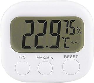 xdrfxrghjku Interior LCD Pantalla Temperatura Electrónica Higrómetro Termómetro Digital Higrómetro Blanco