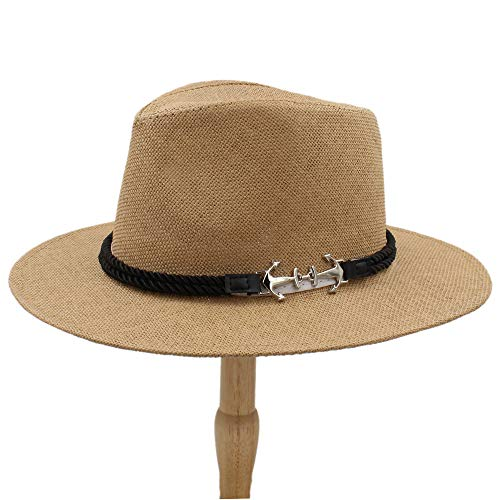 Hats M.J.Z M.J.ZUR Sombrero de Jazz Retro británico para Hombre Sombrero panameño Sombreros Fedora Fedoras Algodón A Cuadros Primavera Otoño (Color : Café, tamaño : 56-58CM)