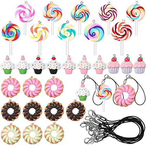 Hicarer 60 Pieces Christmas Ornaments Set Polymer Clay Candy Lollipop Cupcake Pendants Donut Hanging Ornaments with Lobster Clasps DIY Pendants Accessories Christmas Tree Decoration