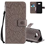 Aeeque Samsung Galaxy S8 Plus Gris Cuir Etui - Mode Built-in Magnétique Portefeuille...