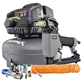Numax S3GIUPCK 3 Gallon 1/2 HP Portable Electric Oil-Free Pancake Air Compressor with 22-Gauge Upholstery Stapler, 25' Air Hose, 11-Piece Inflation Kit, and Fasteners (200 count)