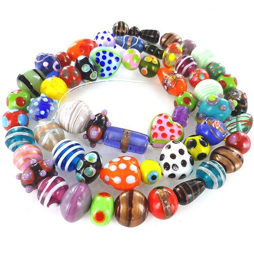 eCrafty's Everything But the Kitchen Sink! ONLY LAMPWORK Glass Beads Mix 1/2 Lb Dots Lampwork Glass Bead