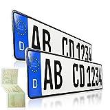 2 targhe per Auto 520 x 110 mm, Certificate DIN, Targa EU con Incisione Personalizzata, Targa per Auto, Targa Standard per Auto, targhe per Auto