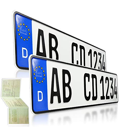 2 Kfz Kennzeichen | 520 x 110 mm | DIN-Zertifiziert – EU Wunschkennzeichen mit individueller Prägung | PKW Nummernschilder | Standard Autokennzeichen | Auto-Schilder | DHL-Versand