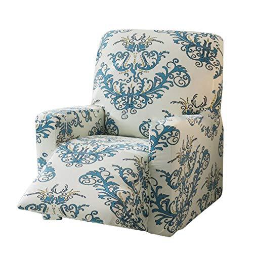 cuckoouk Funda de sofá reclinable elástica, diseño Floral, Antiarrugas, extraíble y Lavable, Protector de Muebles Antideslizante, 3 Estilos a Elegir en Color café/Verde/Gris, Verde