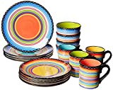 Certified International Tequila Sunrise 16 pc Set, Service for 4 Dinnerware, Dishes, Multicolored