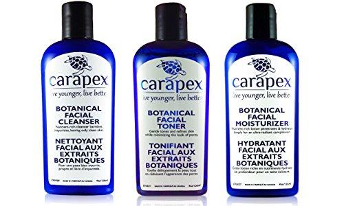 Carapex Botanical Anti Aging Facial Skincare Care Set for Sensitive Skin | 3-Step Facial Cleanser, Facial Toner & Facial Moisturizer | For Men & Women