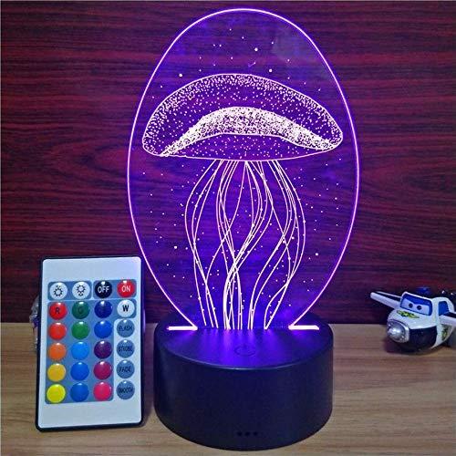 3D Luce Notturna LED,Luce del sonno per Neonati,Lampada da comodino,motivo Forma di medusa,Dimmerabile con 7 Colori e Tocca il telecomando, Luce per decorazione e regali