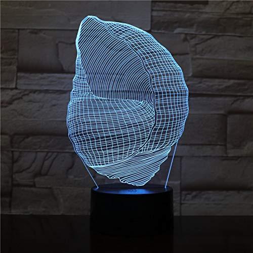 Lampada da notte a forma di conchiglia con illusione del telecomando a colori per cambiare le luci della decorazione domestica