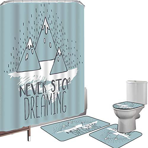 Juego de cortinas baño Accesorios baño alfombras Citas Mountain Peaks Nunca deja de soñar Meta Éxito Aspiración Oficina de alación Alfombrilla baño Alfombra contorno Cubierta del inodoro Multi