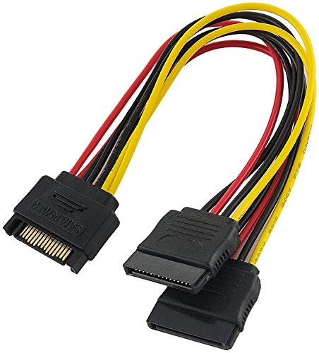 Poppstar 1x 15 cm Sata Y-Stromkabel (Sata 15-pol, 1x Stecker auf 2X Buchse), Adapter für Stromversorgung für SSD und HDD Festplatte und Laufwerke (Y-Kabel Splitter)