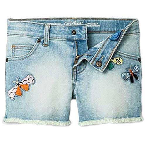 Cat & Jack Girl's Faded Denim Butterfly Patches Super Stretch Shorts (Large)