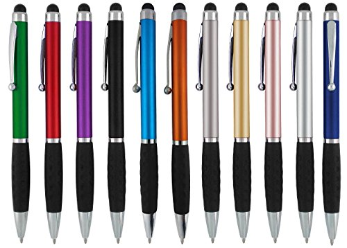 Stylus Pens -2 in1 Capactive Touch Screen with Ballpoint Writing Pen Sensitive Stylus Tip For Your iPad iPhone Samsung Galaxy & All Smart Devices -Metallic Barrel - Assorted Colors Comfy Grips,12 Pack