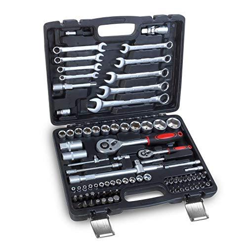 hanSe Steckschlüssel Satz 82 teilig Knarrenkasten Ratschenkasten Werkzeugkoffer zwei Umschaltknarren 1/4' und 1/2'