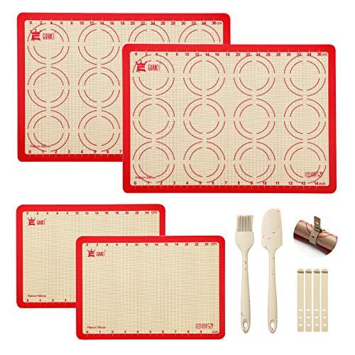 6-Piece Silicone Baking Mat Set,2PCS 16-1/2'x11-5/8'Cookie Baking Mat&2PCS 11-3/4'x 8-1/4'Silicone Baking Mat&1 Set Silicone Brush &Spatula,Non-Stick,Heat-Resistant for Break/Macaroon/Pizza/Cookie