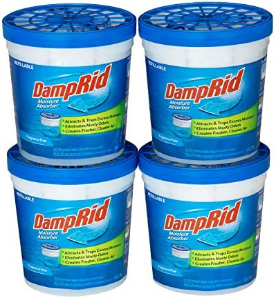 DampRid Fragrance Free Refillable Moisture Absorber 10 5oz cups 4 pack Traps Moisture for Fresher product image