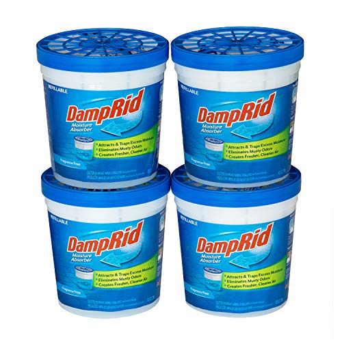 DampRid Fragrance Free Refillable Moisture Absorber - 10.5oz cups - 4 pack  Traps Moisture for Fresher, Cleaner Air