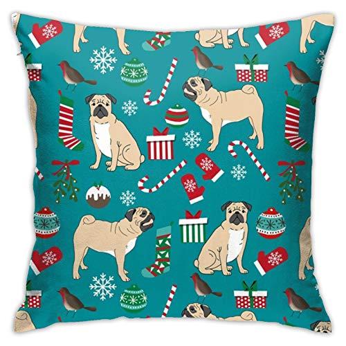 87569dwdsdwd Christmas Pugs Cute Pug Dog Best Pugs Cute Pug Dog Christmas Redgreen Christmas Pugs Square Pillow Case Home Sofa Decorative 18' X 18'Inch Ultra Soft Comfortable