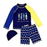 Duevin Enfant Maillot de Bain Deux-pièces Haut+Short Unisexe Maillot de Bain Combinaison Anti-UV Bébé Enfant T-Shirt + Shorts + Bonnet Maillot de Bain Boxer Garçon(4-Bleu Foncé)