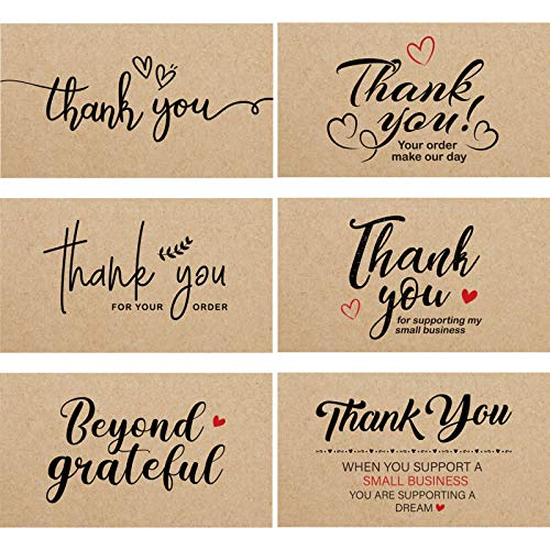 120 Mini Thank You for Your Order Business Cards Shopping Purchase Thanks Greeting Cards to Customer Appreciation Cards for Small Business Owners, 3.5 x 2 Inch (Kraft Theme)