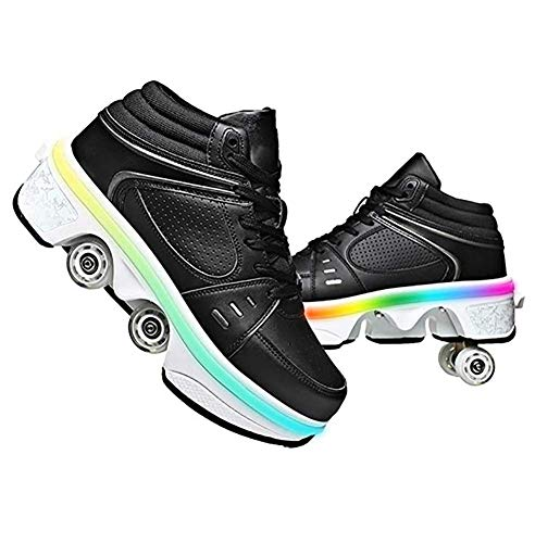 HXA Flash Roller Skates Women Shoes with 7-Colors LED Lights Casual Outdoor Automatic Walking Shoes for Women/Men, 2 in 1 Parkour Shoes That Turn Into Skates for Girls/Boys