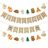 Woodlands Baby Shower Decorations Woodland Boy Baby Shower Banners, 1 Welcome Little Baby Banner, 2 Woodland Creatures Banners Deer Forest Animal Friends Garland Baby Shower Birthday Party Decor