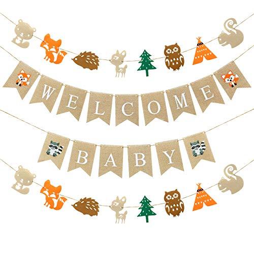 Wald Baby Dusche Dekorationen Wald Boy Baby Dusche Banner, 1 Welcome Little Baby Banner, 2 Wald Kreaturen Banner Fuchs Hirsch Wald Tier Freunde Girlande Baby Dusche Geburtstag Party Dekor