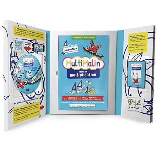 MultiMalin - Tables de Multiplication (coffret contenant 1 livret, 1 DVD et 1 jeu de cartes) - Apprendre les Multiplications - Primaire et École Élementaire