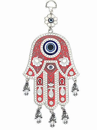 Red Hamsa Evil Eye Protection Almulet Hanging Decoration (with a Betterdecor Pouch )