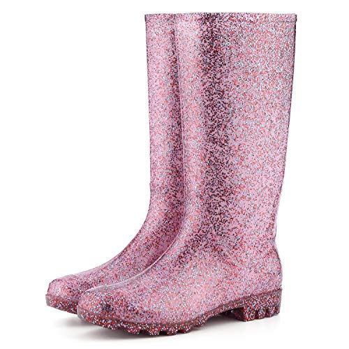 KomForme Womens Knee High Waterproof Rain Boots Glitter, Matte and Gradient, Glitter Red, 6