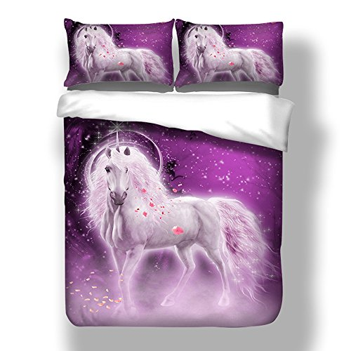 Unicornio Funda Nórdica y Funda Almohada 3D Animales Unicornio Flores Patrones Juego de Ropa de Cama (Púrpura, 180 x 220 cm - Cama 105/90 cm)