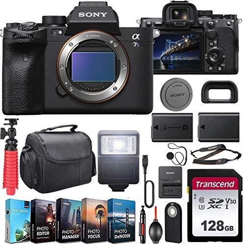 Sony Alpha a7S III Mirrorless Digital Camera (ILCE7SM3/B) Body Kit with Extra Battery + Flash + 128GB U3 V30 Memory Accessory Bundle