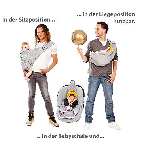 Lodger Shelter 2.0 – 3in1 Babytrage, Babytragetuch, Babysling sowie Transportdecke für Babys und Eltern, ab Geburt bis 18 Monate (max. 12kg), Sicheres Verschlusssystem, Trage-Tuch für Babys und Kinder, Schönes Design, Neu und OVP - 4