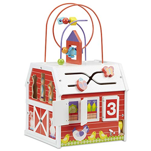 """Melissa & Doug First Play Slide  Sort & Roll Wooden Activity Barn with Bead Maze  6 Wooden Play Pieces (11.75"""" x 11.75"""" x 20"""" Assembled)"""