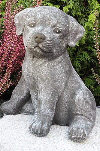 Steinfiguren Spicker Steinfigur Hund sitzend 173/1, Gartenfigur Steinguss Tierfigur Basaltgrau